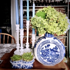 Vintage Blue and White Vase