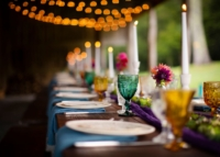 Wedding Table with Vintage Colored Goblets