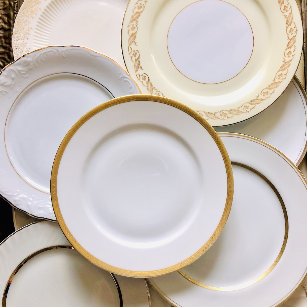 Vintage white/cream plates with gold