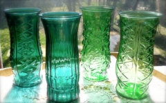 Vintage Green and Teal Glass Vases