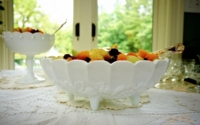 Milk Glass Compote filled with Fruit