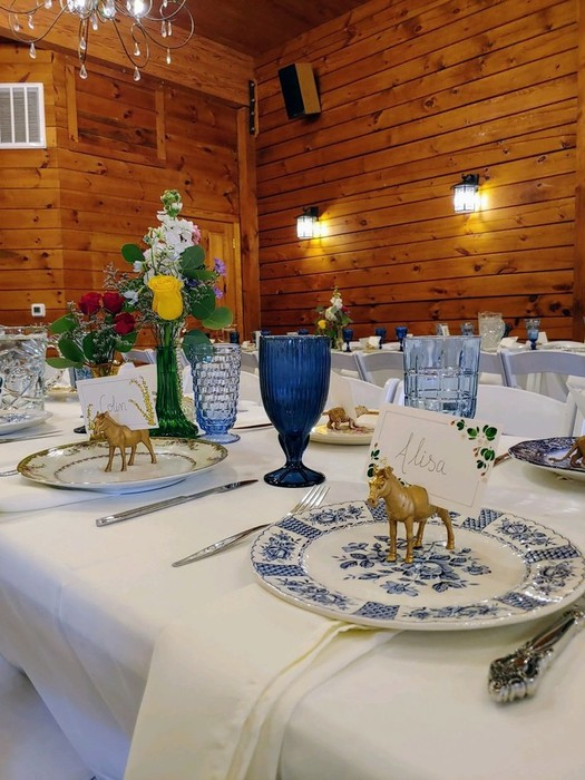 Wedding reception with mixed and matched plates