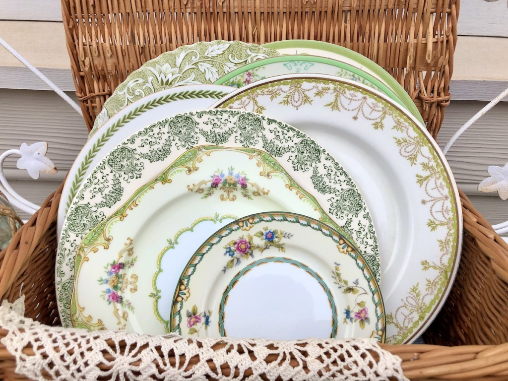 Vintage Plates in Basket