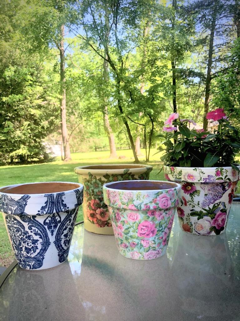 Decoupaged Pots