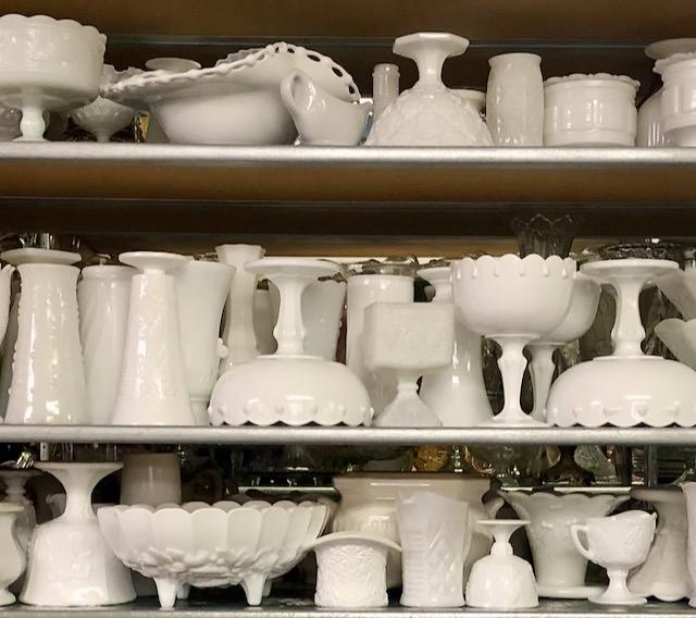 Vintage Milk Glass on Shelves