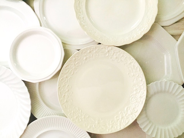 Vintage White Stoneware Plates
