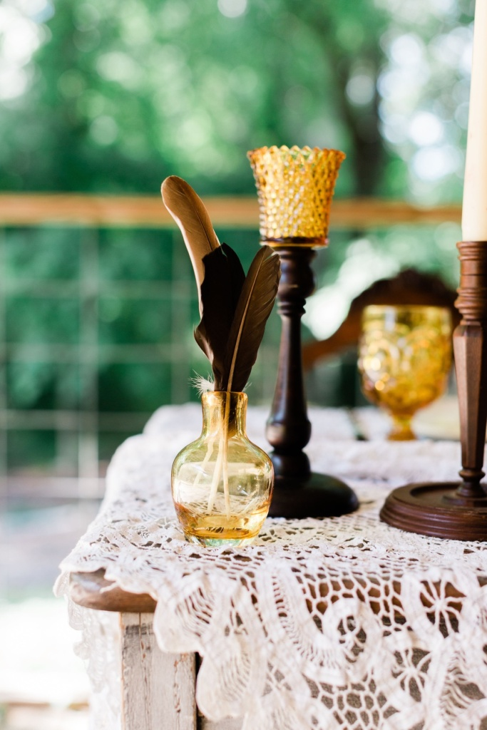 Wooden CandleHolder and Amber Votive