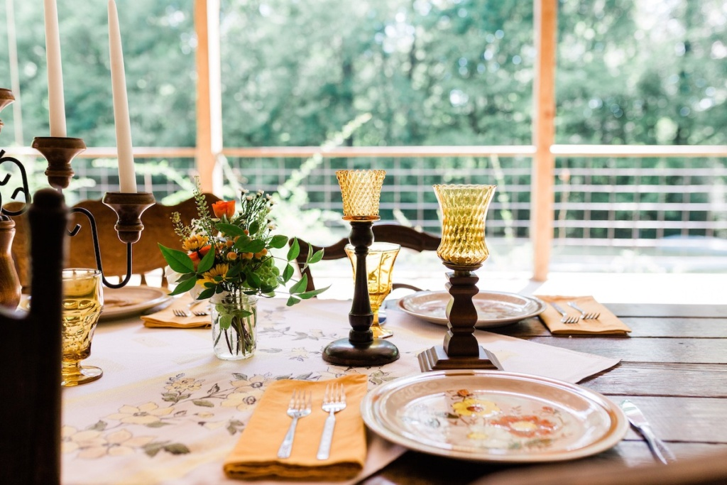 Vintage Stoneware Place Settings on Table