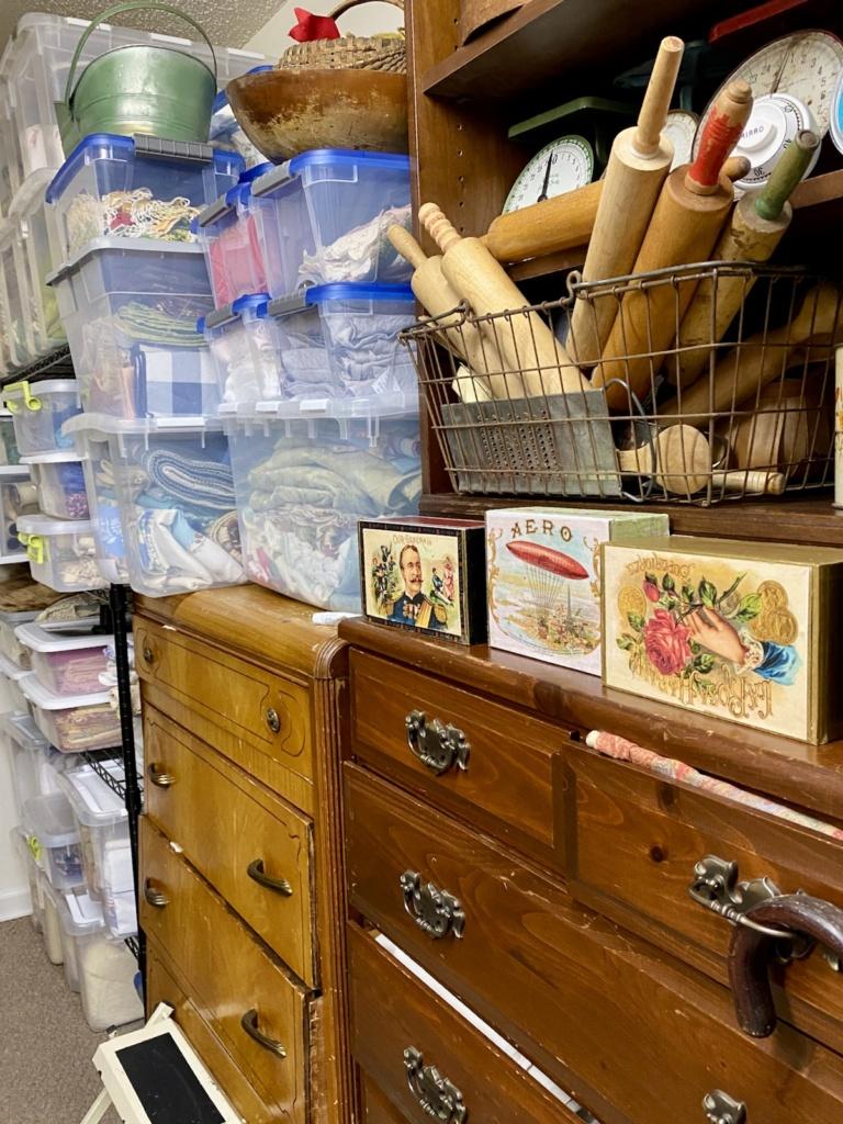 Vintage Linens on Shelves
