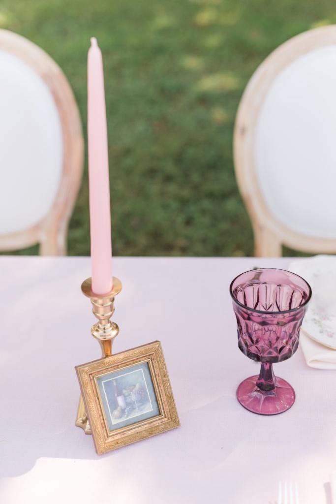 Vintage Goblet and Frame leaning on Candleholder