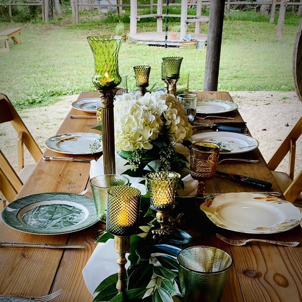 Vintage Green Tablescape