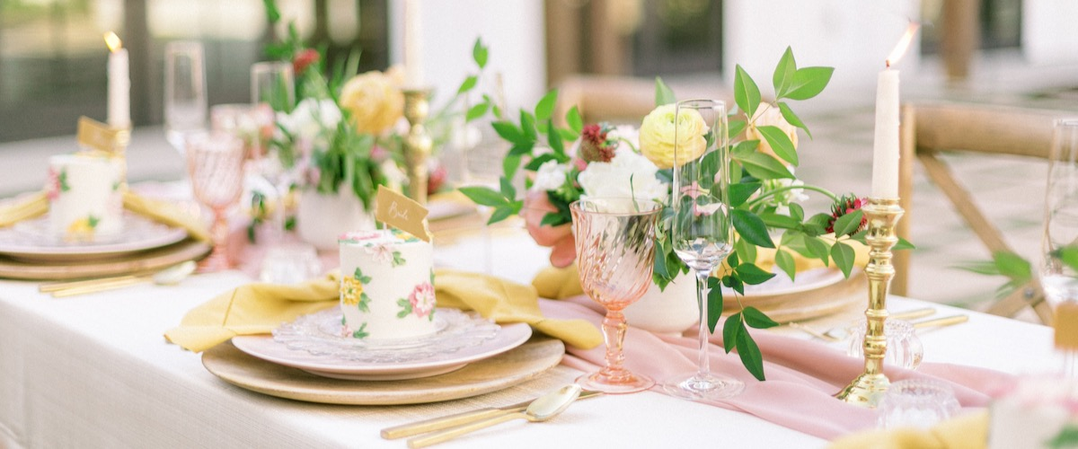 Yellow and Pink Tablescape