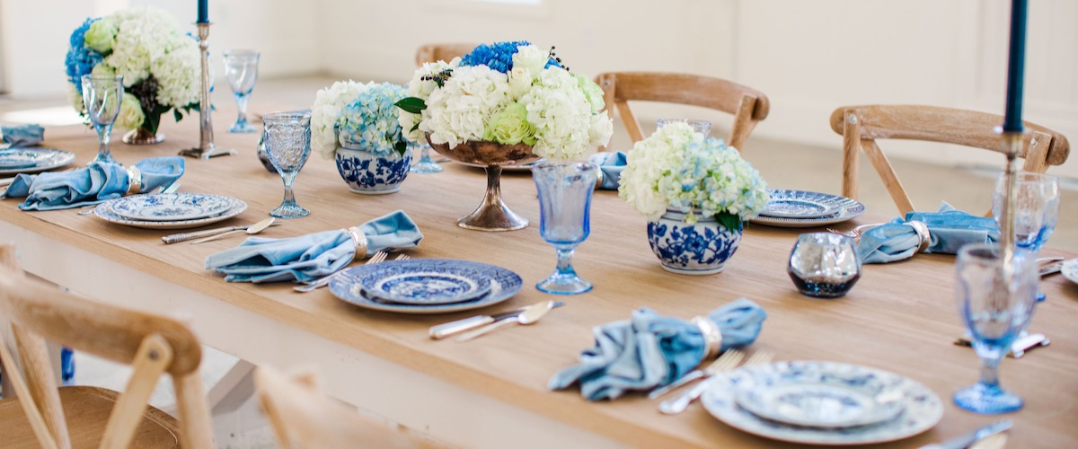 Vintage Blue and White Reception Table