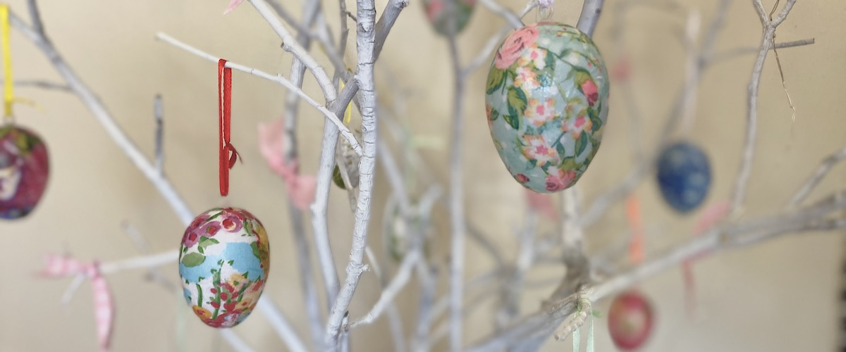 Decoupaged Eggs on Tree