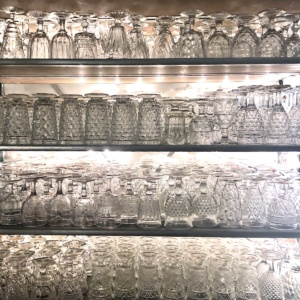 Vintage Clear Goblets on Shelves