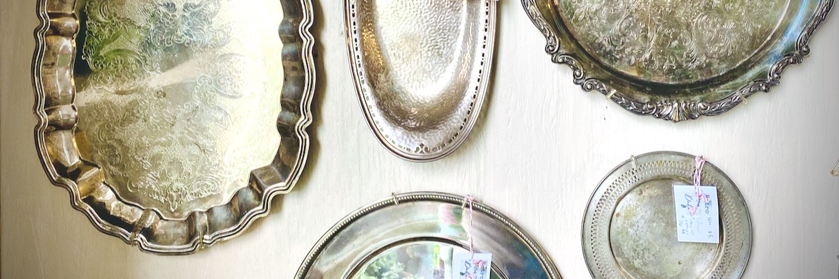 Wall Display of Vintage Silver-plated Trays